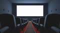 Cinema screen inside of the several empty seats waiting the movie on the your text or picture on the white Royalty Free Stock Image