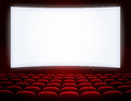 Cinema screen with seats red Stock Photo