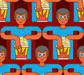 Cinema seamless pattern. Spectator in stereo glasses and popcorn Royalty Free Stock Photo