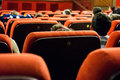 Cinema seats audience sitting on studio theater in bucharest romania Stock Photo