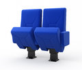 Cinema seats blue render and clipping path Royalty Free Stock Photo