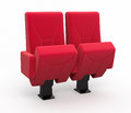 Cinema seats seat render and clipping path Stock Image