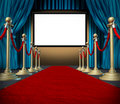 Cinema stage blank curtains red carpet Royalty Free Stock Photos