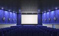Cinema stage blue d render sound system spectacular lighting upholstered in red fabric Royalty Free Stock Image