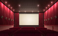 Cinema stage d render sound system spectacular lighting upholstered in red fabric Royalty Free Stock Photos