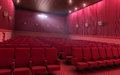 Cinema stage d render sound system spectacular lighting upholstered in red fabric Royalty Free Stock Photography