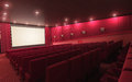 Cinema stage d render sound system spectacular lighting upholstered in red fabric Stock Photo