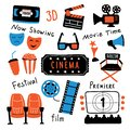 Cinema symbols set with ink lettering. Movie time and 3d glasses, popcorn, clapperboard, ticket, screen, camera, film, chairs.