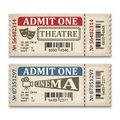 Cinema and theater tickets in retro style. Two admission tickets isolated on white background