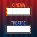 Cinema and theatre signboards on blue and red curtains with spotlights and vintage frames
