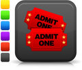 Cinema tickets icon on square internet button Stock Image
