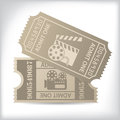 Cinema tickets with icons and text old Royalty Free Stock Photos