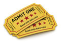 Cinema tickets industry entertainment film production and movie premiere concept group of yellow tear off with admit one text on Stock Photos