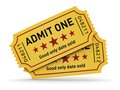 Cinema tickets industry entertainment film production and movie premiere concept group of yellow tear off with admit one text Stock Photo