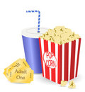 Cinema tickets and popcorn Royalty Free Stock Photo