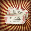 Cinema tickets on retro rays background Royalty Free Stock Photos