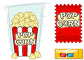 Cinema vector icons set stereo glasses popcorn Royalty Free Stock Photo