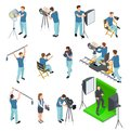 Cinematograph isometric set. People work camera light crew movie video film motion production tv studio green screen 3d