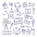 Cinematography doodle set. Video movie entertainment icons