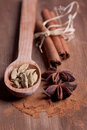 Cinnamon, anise, cardamom Stock Photo