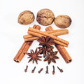 Cinnamon anise and cloves on white background sticks powder Royalty Free Stock Images