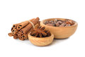 Cinnamon, anise and cocoa beans Royalty Free Stock Photos