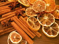 Cinnamon anise and orange sticks stars Royalty Free Stock Photography