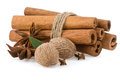 Cinnamon, anise star and nutmeg Royalty Free Stock Photography