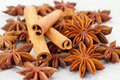 Cinnamon and anise stars sticks on wood background Stock Photo