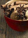 Cinnamon anise and walnut bowl of Stock Image