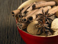 Cinnamon anise and walnut bowl of Stock Images
