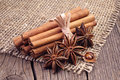 Cinnamon and anise on wooden table close up Royalty Free Stock Photos