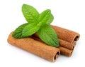 Cinnamon bark and fresh mint Royalty Free Stock Photo