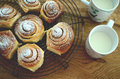 Cinnamon buns with milk Royalty Free Stock Photo