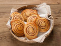 Cinnamon buns or rolls sweet with and sugar selective focus Royalty Free Stock Photos