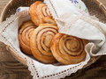 Cinnamon buns or rolls sweet with and sugar selective focus Stock Photography
