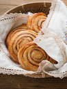 Cinnamon buns or rolls sweet with and sugar selective focus Stock Photos