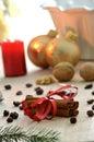 Cinnamon and Christmas decoration Stock Photo