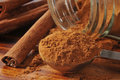 Cinnamon closeup close up of a teaspoon full of shallow depth of field Royalty Free Stock Images