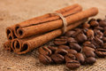 Cinnamon and coffee beans sticks on burlap Stock Photography