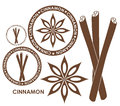 Cinnamon isolated objects on white background vector illustration eps Royalty Free Stock Images