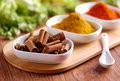 Cinnamon and other spices in the bowl Stock Photos