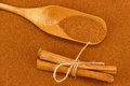 Cinnamon powder, sticks and scoop Royalty Free Stock Photo