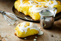Cinnamon roll with pumpkin and glaze Royalty Free Stock Photo