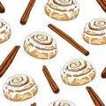 Cinnamon roll seamless background Royalty Free Stock Photo