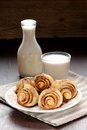 Cinnamon rolls with glass and bottle of milk Royalty Free Stock Photo
