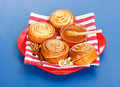 Cinnamon rolls and honey Royalty Free Stock Photos