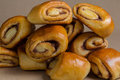 Cinnamon rolls in a pile bunch of pastry with Royalty Free Stock Photos