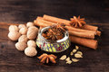 Cinnamon, star anise, nutmeg, turmeric and cardamom- Royalty Free Stock Photo