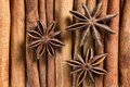 Cinnamon and stars anise Stock Photography